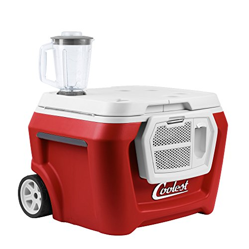 Coolest Cooler (60 Quart, Sangria) Premium ice Chest with Bluetooth Speaker, Oversized Wheels, telescoping Handle, Picnic Party Essentials, Bungee tie Down and Optional Blender and Solar lids …