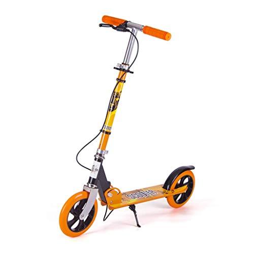 GTYMFH Scooter de pie Scooter de Dos Ruedas for Adultos Plegables Cercanías Scooters con Ruedas Grandes, Motos no eléctrico scoote Plegado Adultos Scooter de Ciudad (Color : Orange)