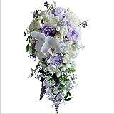 TOPHUHAI Wasserfall Brautsträuße lila künstliche Pfingstrose Hochzeit Blumen Blumensträuße Rose Party Holding Flower Buque de Noiva para Casamen (Farbe : Same as pic)