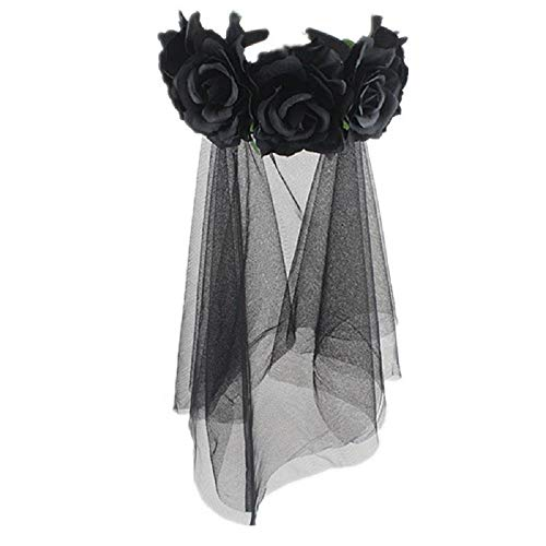 PURFUN Halloween Gothic Flower Garland Cosplay Day of The Dead Headpiece Hair Wreath with Short Black Veil Costume Accessory for Women Ladies