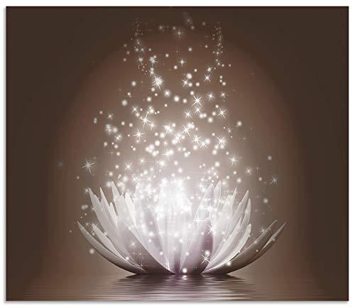 Artland Spritzschutz Küche aus Alu für Herd Spüle 60x70 cm Küchenrückwand mit Motiv Lotusblume Botanik Blumen Kunst Abstrakt Glitzer Braun T3ZX