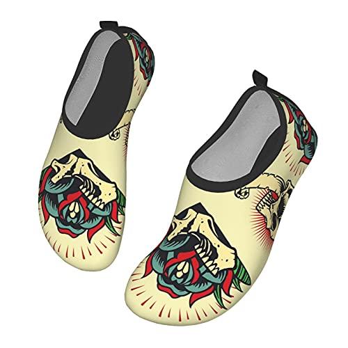 Zapatos unisex para exteriores, playa, secado rápido, marcos de calavera y rosa, muy adecuados para actividades al aire libre, kayak, surf, yoga,, color, talla 42 2/3 EU