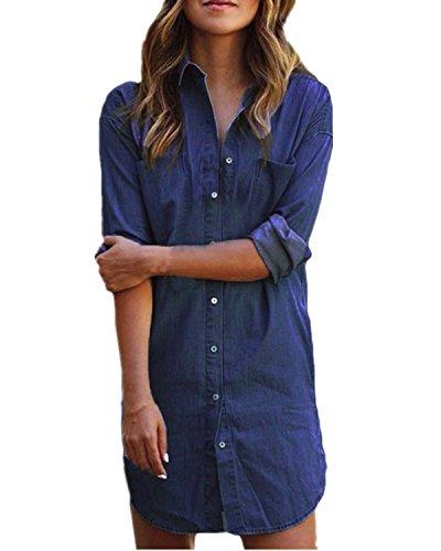 Style Dome Camisa de Mujer Vestido Demin Tunic Jean Button Mangas largas Mini Vestido Camisa Corta Top Tops Blusa Larga Azul denim-649683 XL
