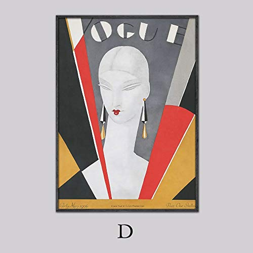 Vintage Cuadros Vogue figuur Posters en prints Canvas muur Pop Art zwart-wit schilderij Nordic decoratieve Picture_40x60cm