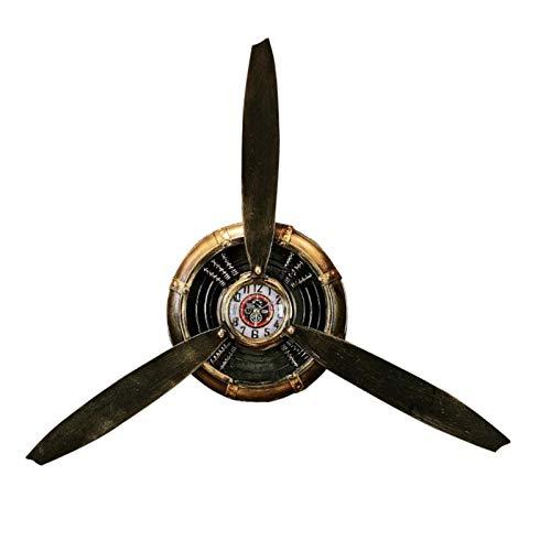 K-Park Decoración de pared de hélice de avión, grande, para colgar en la sala de estar, dormitorio, baño, oficina, cocina, reloj de aviación de hierro forjado, decoración de pared respetable