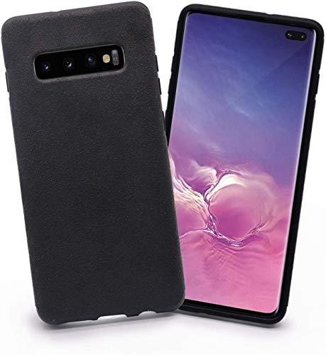 Arrivly Cover Für Galaxy S10+ 6,4 Zoll (2019) Schwarz Hülle Wildleder Case Handyhülle Rehleder Mikrofaser Schutzhülle (Samsung Galaxy S10 Plus)