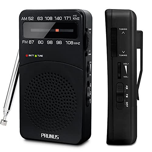 PRUNUS J-166 Radio Transistor Pequeño FM Am, Radio Portatil Pequeña con Clip Trasero, Radio Multibanda Sintonizador con indicador.Funciona con Pilas AA.