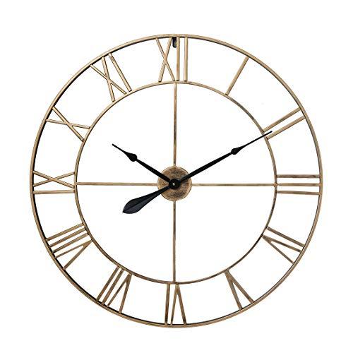 Teakpeak Reloj de Pared XXL Vintage, 80cm Reloj de Pared Metalico con Número Romano