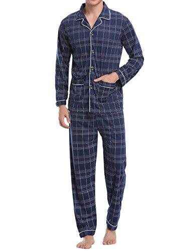 Aibrou Pijamas Hombre Invierno Algodón 2 Piezas Calentito Pijamas Hombre Otoño Algodón,Suave,Cómodo y Agradable (S, Azul#8)
