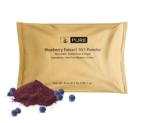 100% Pure Blueberry Extract 10:1 Powder, 8 oz, 800 mg Serving, Non-GMO, Gluten-Free, Vegan, No Fillers or Additives, Made in USA, Lab-Tested, Eco-Friendly Packaging