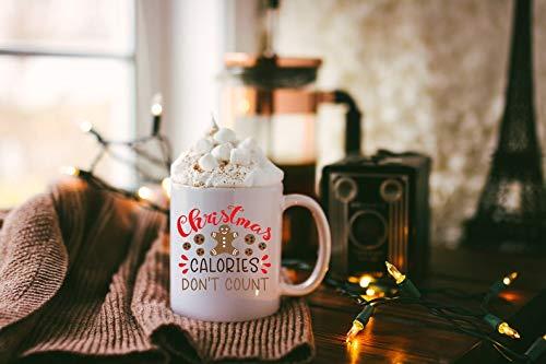 Koffie mok, Thee Beker, Kerstmis Koffie Mok, Kerstmis Mok, Kerstmis Cadeau, Kerst Mok, Grappige Kerstmis Mok, Kerst Calorieën Niet tellen, 11 oz Keramische Koffie of Thee Mok
