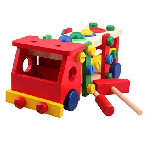 Floridivy Multifunctionele houten speelgoed voor kinderen puzzel gemonteerd Nut Car Afneembare Kloppen Kogelomloopspil Vehicle