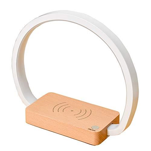 Dormitorio Protección para los ojos La lectura LED de madera maciza, lámpara de noche, lámpara de mesa de carga inalámbrica del teléfono móvil, audio de Bluetooth, con interruptor táctil, lámpara de e