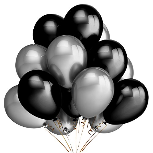 100Pcs 12 Inch 2.8 g/pc Thicken Round Pearlescent Silver & Black Latex Balloons,Bachelorette Wedding Graduation Hawaii Baby Shower Birthday Party Decoration Supplies