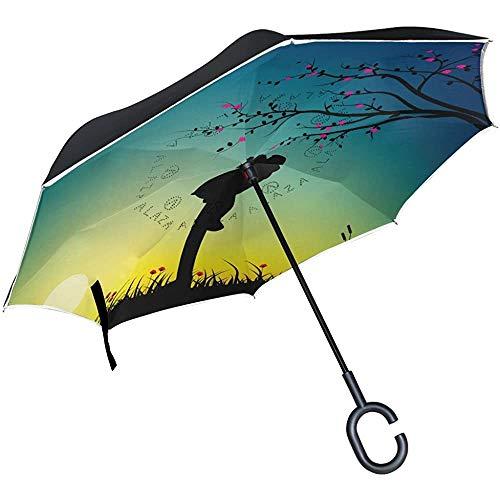 Merle House Umgekehrter Regenschirm Romantisches Paar Kuss Silhouette Doppelschicht Reverse Umbrella mit C-förmigem Griff