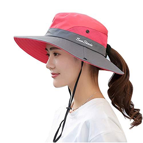WITERY Sonnenhut für Damen, UV-Schutz, faltbar, breite Krempe, für Reisen, Wandern, Angeln, Strand, Wassermelone Gr. M, wassermelone