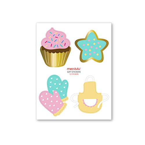Stickers for Gift Bags, 12 ct | Gift Tag, Party Favors | Children's Baking Party Decorations | Cupcake Decorating Party Favor Stickers