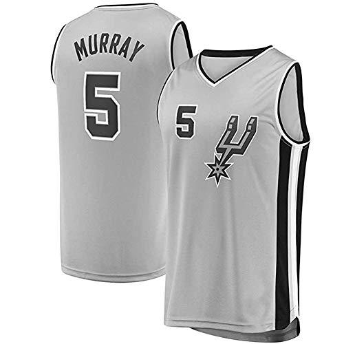 ZXYM Dejounte Murray Basketballtrikot, San Antonio Spurs # 5 Herren Basketball Fan Trikot schnelle Feuchtigkeitsaufnahme atmungsaktiv schnell trocknend Wiederholbare Reinigung-Grey A-XXL