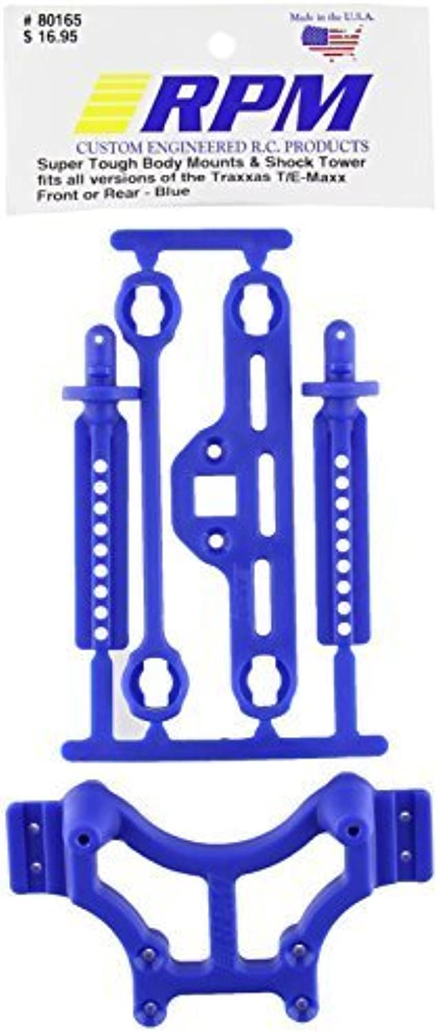 RPM 80165 Shock Tower Adjustable Mounts bluee T EMaxx bluee by HRP (Level 3 Products)