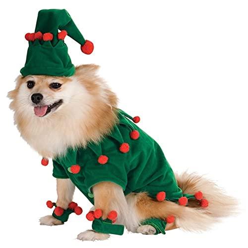LSHAN Disfraz Divertido de Navidad para Mascotas,Abrigo de Navidad de Perro Gato,Ropa de Elfo Verde para Ropa de Fiesta de Cosplay (Color : S)
