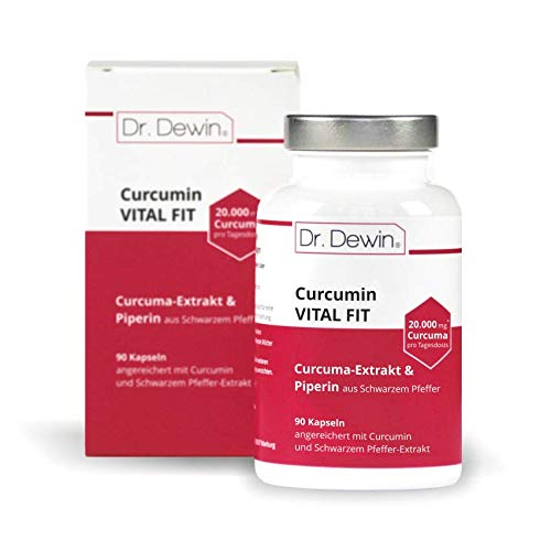 Dr. Dewin® Curcumin VITAL FIT │Curcuma Kapseln │ Curcuma-Extrakt + Piperin │ 20.000mg Curcuma pro Tagesdosis* │ 90 Kapseln = 45 Tage │ Vegan | Made in Germany