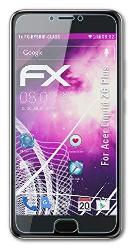 atFolix Glasfolie kompatibel mit Acer Liquid Z6 Plus Panzerfolie, 9H Hybrid-Glass FX Schutzpanzer Folie