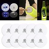 Baiwka Coaster - Lote de 10 pegatinas LED para el encendido de posavasos de botella de bar con led, bebidas Flash