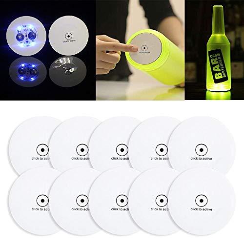 LED-Untersetzer ohne Markenzeichen, 10 LED-Flaschenaufkleber, beleuchtete Bar-Untersetzer, Karaffe, Tassen, Leuchtmatten für Zuhause, Party, Tischpflanzendekoration