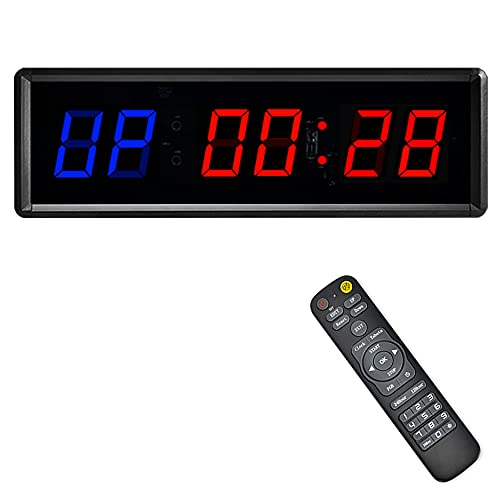 PULIVIA Gym Timer Fitness Interval Timer, Count Down/Up Clock Stopwatch with Remote Control, Programmable LED Interval Timer for Home Gym Fitness Exercise Workout