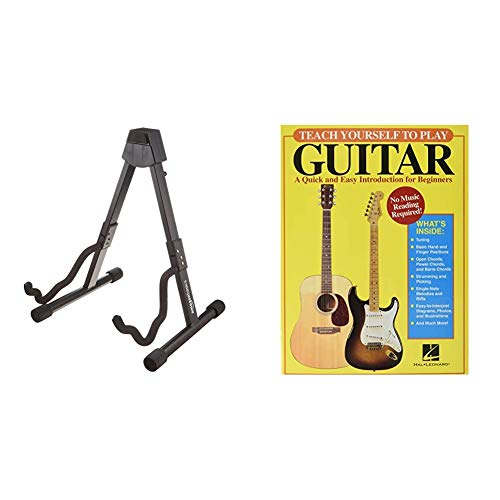 Amazon Basics Guitar Folding A-Frame Stand for Acoustic and Electric Guitars & Teach Yourself to Play Guitar: A Quick and Easy Introduction for Beginners