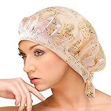 AQshop comfort silk ナイトキャップ シルク100% ロングヘア対応 サイズ調節紐付き つや髪 保湿 bd (花柄)