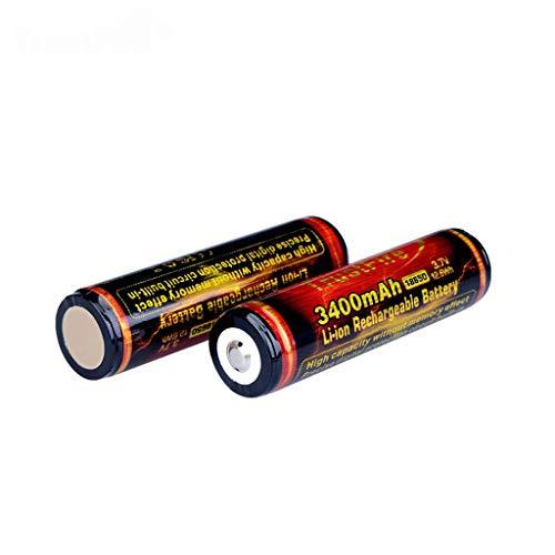 zhiwenCZW 2er Pack Button Top 3.7V 3400mAh 18650 Li-Ionen-Akku für LED-Taschenlampenlautsprecher DIY Power Bank Mini Fan und mehr