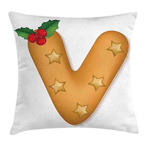 Alan Connie Christmas Alphabet Pillow Cover,Xmas Cookie Like Letter V with Stars and Mistletoe Berries,18 X 18 Inch,Ginger Ruby and Green