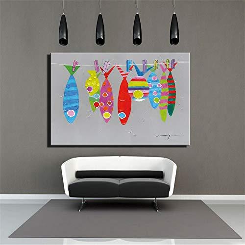 ganlanshu Rahmenlose MalereiModerne Fischplakate und -drucke hellgraues abstraktes rotes buntes Cartoon Tiere50X75cm
