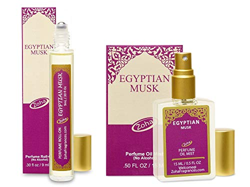 Egyptian Musk Perfume Oil Set of 9ml Roller and 15ml Oil Mist (no Alcohol spray) - Natural Organic Essential Oils and Hypoallergenic Vegan Perfumes for Women and Men by Zoha Fragrances