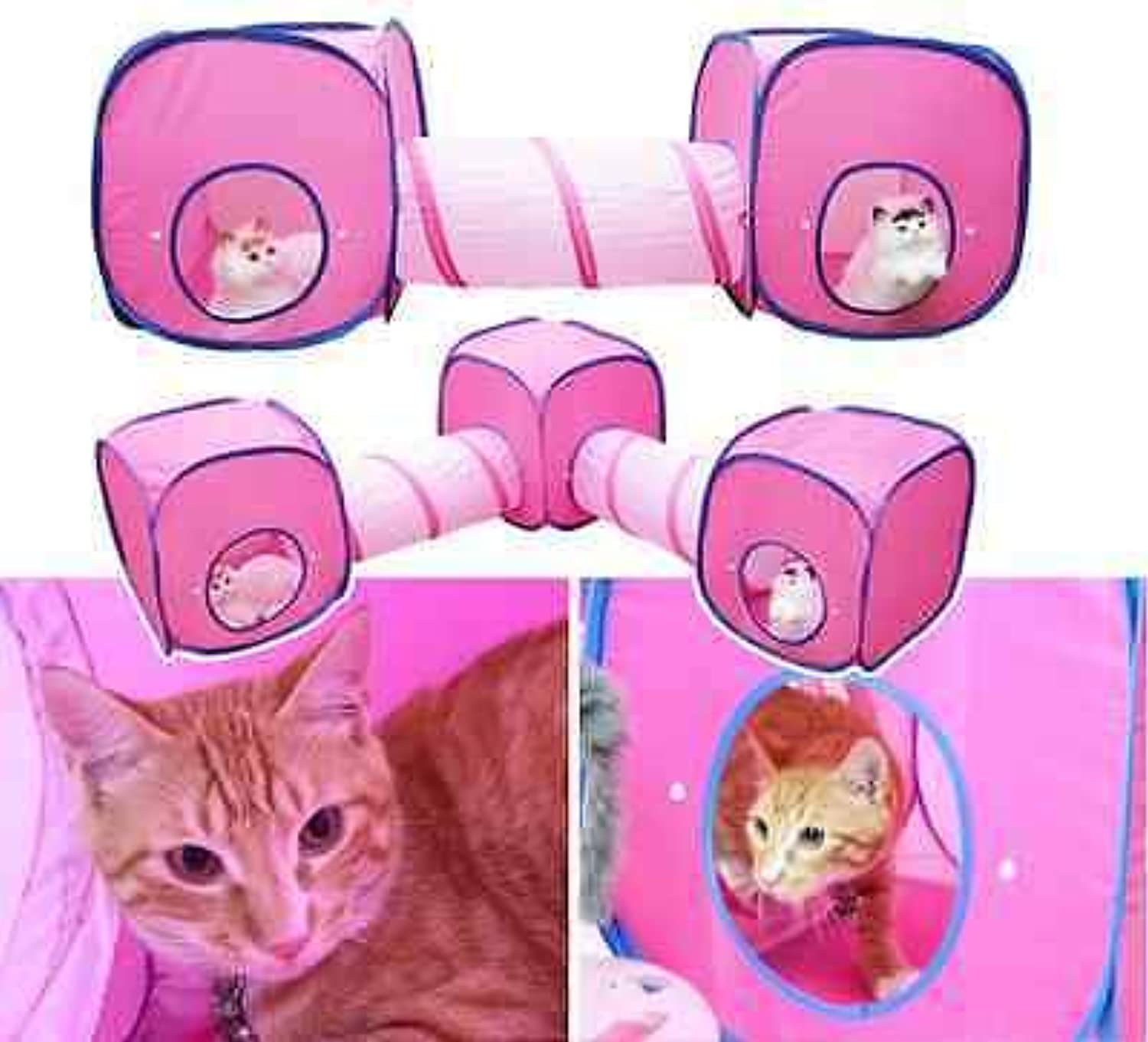FidgetGear Cat Kitten Play Tunnel&Tent Playground Toys Foldable Cat Play House Outdoor 3 Tent x 2 Tunnel