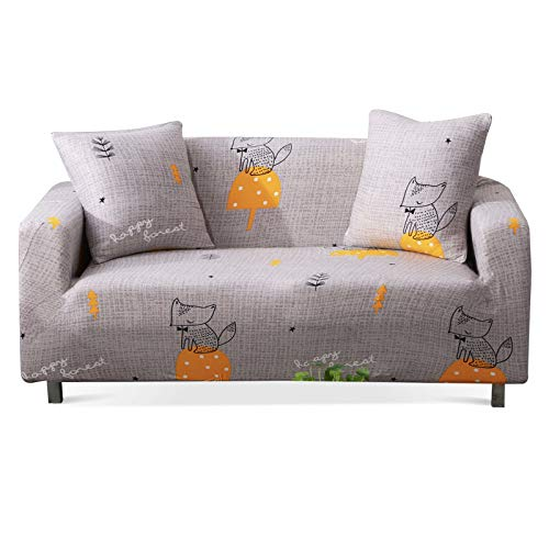 Stretch Sofa Slipcover Fitted Furniture Protector Print Sofa Cover Stylish Couch Cover with 2 Pillow Cases for Loveseats/Sofas/Sectional Couches,Fox