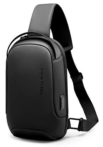 MARK RYDEN bolso bandolera hombre, impermeable bolso cruzado hombre, antirrobo, compatible con iPad 9.7 de Viaje para los Estudios, Viajes o Trabajo Diario-Negro