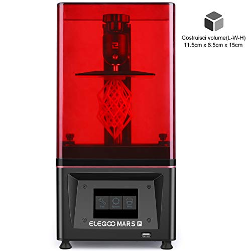 ELEGOO Stampante 3D Mars Pro MSLA 3D Photocuring UV Stampante 3D LCD con sorgente di luce LED UV Matrix, carbone attivo incorporato, stampa off-line 11,51 cm (L) x 6,5 cm (L) x 15 cm (H)