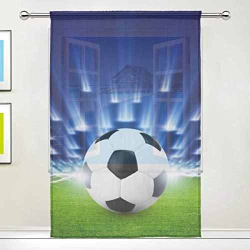 Isoa Tenda velata in tulle, motivo: pallone da calcio, per finestre, cucina, soggiorno, camera da letto, pannello singolo, 132 x 198 cm, Poliestere, Multicolore, 55x84x1(in)
