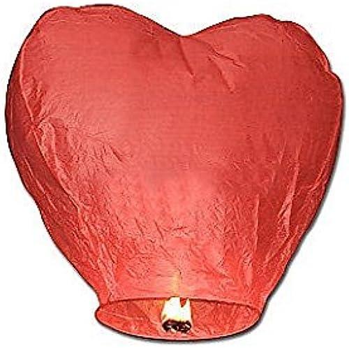 moda Lote de 50 farolillos de viento tailandés, tailandés, tailandés, Diseño de corazón, Color rojo  alto descuento