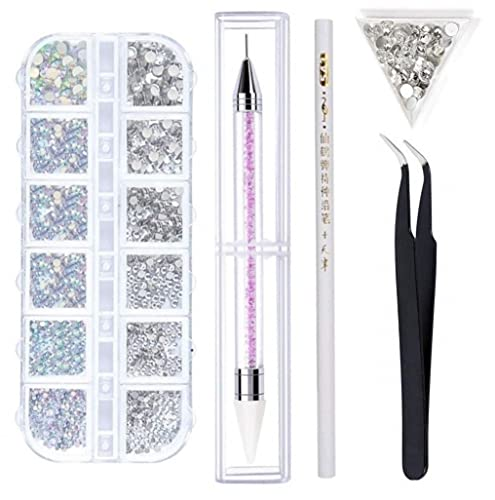1500 Stück Strasssteine - 6 Größen Glitzersteine, AB Strasssteine Selbstklebend zum Aufkleben, Kristall - Edelsteine für Nägel/ Kleidung/Handwerk, mit Pick Up Pinzette und Strass Picker Dotting Pen