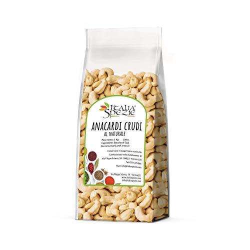 Anacardi al Naturale interi 1 Kg, non tostati, non salati, senza conservanti. Anacardi crudi naturali senza sale. Frutta secca di primissima scelta. I