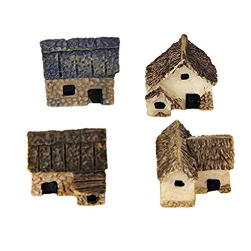 Mengonee 4pcs Kit Miniatura Hada del jardín de Piedra Casas Mini Cottage Casa Decor miniaturas Accesorios Jardinería Decoración