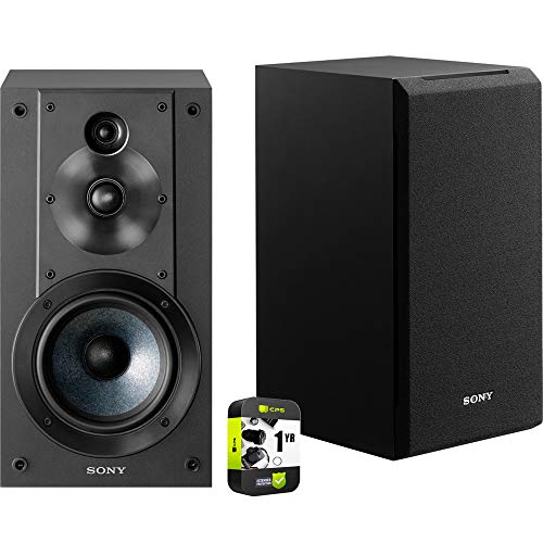 Sony SS-CS5 3-Way 3-Driver Bass Reflex Stereo Bookshelf Speakers Bundle with 1 Year Extended Protection Plan
