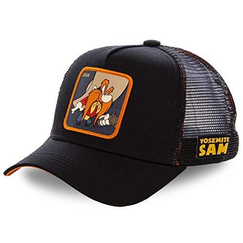 Gorra de béisbol de algodónSnapbackHombres Mujeres Hip Hop Papá Sombrero de Malla Sombrero de Camionero-Sam Black