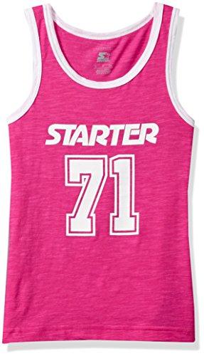 Starter Girls' Ringer Logo Tank Top, Amazon Exclusive, Power Pink, XL (14/16)