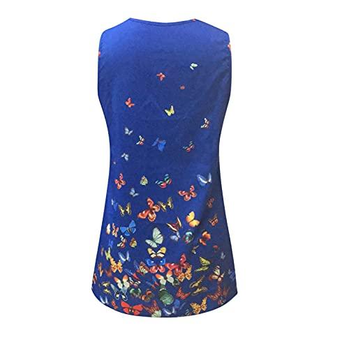 YWLINK Mujer Vestido Camiseta Estampado Floral Sin Mangas Vestido Casual Corto Playa,Vestido Mujer Verano Dye Playa Tallas Grandes Cuello Redondo Vestido,Falda Larga Estampada