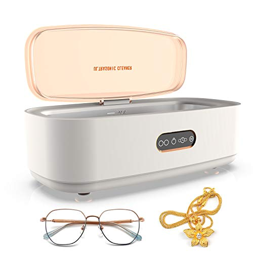 Ultrasonic Jewelry Cleaner, Four E's Scientific Portable Professional Ultrasonic Cleaner Machine 45kHz with 4 Cleaning Modes for Cleaning Silver Jewelry Eyeglasses Rings Watches Necklaces