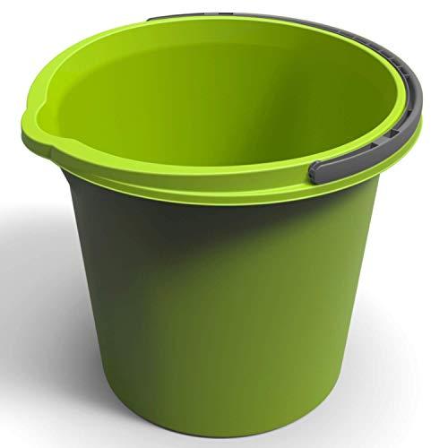 Rotho Vario Eimer 10l mit Henkel und Ausguss, Kunststoff (PP) BPA-frei, grün, 10l (29,2 x 29,2 x 25,9 cm)